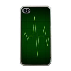 Heart Rate Green Line Light Healty Apple iPhone 4 Case (Clear)