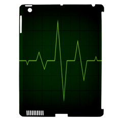 Heart Rate Green Line Light Healty Apple iPad 3/4 Hardshell Case (Compatible with Smart Cover)