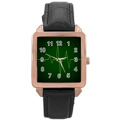 Heart Rate Green Line Light Healty Rose Gold Leather Watch