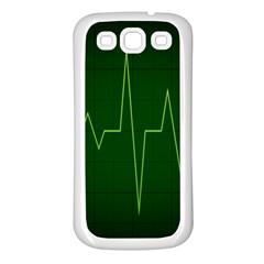 Heart Rate Green Line Light Healty Samsung Galaxy S3 Back Case (White)