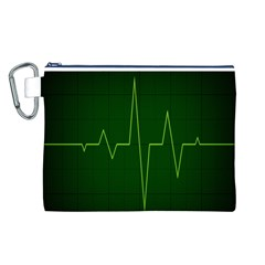 Heart Rate Green Line Light Healty Canvas Cosmetic Bag (L)