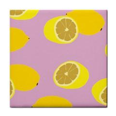 Fruit Lemons Orange Purple Tile Coasters