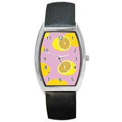 Fruit Lemons Orange Purple Barrel Style Metal Watch