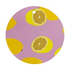Fruit Lemons Orange Purple Round Ornament (Two Sides)