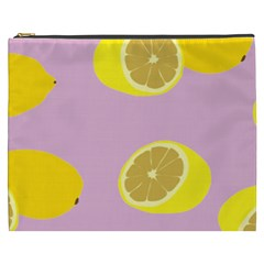 Fruit Lemons Orange Purple Cosmetic Bag (XXXL)