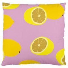 Fruit Lemons Orange Purple Large Flano Cushion Case (One Side)