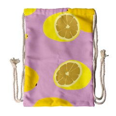 Fruit Lemons Orange Purple Drawstring Bag (Large)