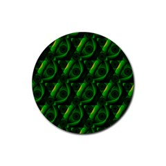 Green Eye Line Triangle Poljka Rubber Coaster (Round)