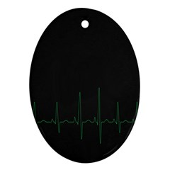 Heart Rate Line Green Black Wave Chevron Waves Ornament (Oval)