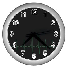 Heart Rate Line Green Black Wave Chevron Waves Wall Clocks (Silver)