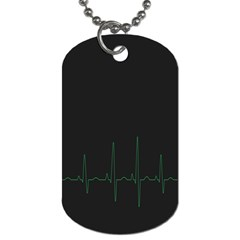 Heart Rate Line Green Black Wave Chevron Waves Dog Tag (One Side)