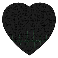 Heart Rate Line Green Black Wave Chevron Waves Jigsaw Puzzle (Heart)