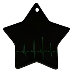 Heart Rate Line Green Black Wave Chevron Waves Star Ornament (two Sides)