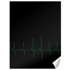 Heart Rate Line Green Black Wave Chevron Waves Canvas 36  X 48