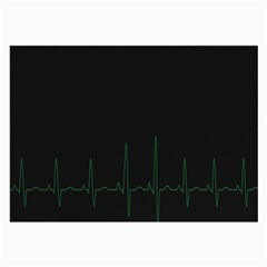Heart Rate Line Green Black Wave Chevron Waves Large Glasses Cloth (2-Side)