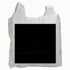 Heart Rate Line Green Black Wave Chevron Waves Recycle Bag (One Side)