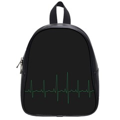 Heart Rate Line Green Black Wave Chevron Waves School Bags (Small)
