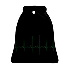 Heart Rate Line Green Black Wave Chevron Waves Ornament (Bell)