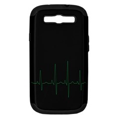 Heart Rate Line Green Black Wave Chevron Waves Samsung Galaxy S III Hardshell Case (PC+Silicone)