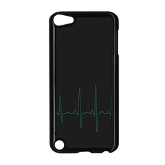 Heart Rate Line Green Black Wave Chevron Waves Apple iPod Touch 5 Case (Black)