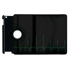 Heart Rate Line Green Black Wave Chevron Waves Apple iPad 2 Flip 360 Case