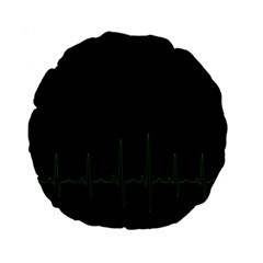 Heart Rate Line Green Black Wave Chevron Waves Standard 15  Premium Round Cushions
