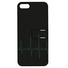 Heart Rate Line Green Black Wave Chevron Waves Apple iPhone 5 Hardshell Case with Stand