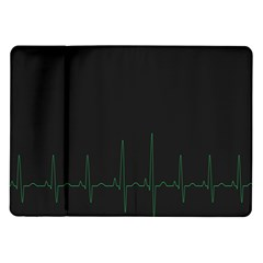 Heart Rate Line Green Black Wave Chevron Waves Samsung Galaxy Tab 10.1  P7500 Flip Case