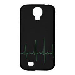 Heart Rate Line Green Black Wave Chevron Waves Samsung Galaxy S4 Classic Hardshell Case (PC+Silicone)