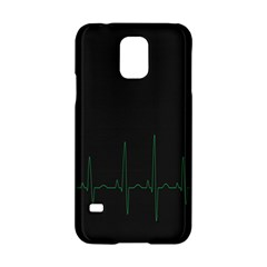 Heart Rate Line Green Black Wave Chevron Waves Samsung Galaxy S5 Hardshell Case