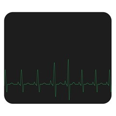 Heart Rate Line Green Black Wave Chevron Waves Double Sided Flano Blanket (Small)