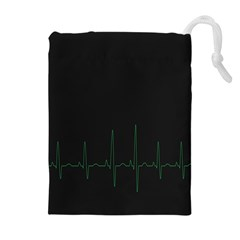 Heart Rate Line Green Black Wave Chevron Waves Drawstring Pouches (Extra Large)