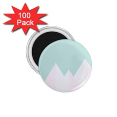 Montain Blue Snow Chevron Wave Pink 1.75  Magnets (100 pack)