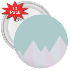 Montain Blue Snow Chevron Wave Pink 3  Buttons (10 pack)