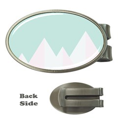 Montain Blue Snow Chevron Wave Pink Money Clips (Oval)