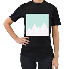 Montain Blue Snow Chevron Wave Pink Women s T-Shirt (Black) (Two Sided)