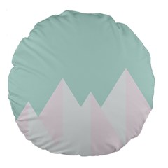 Montain Blue Snow Chevron Wave Pink Large 18  Premium Flano Round Cushions
