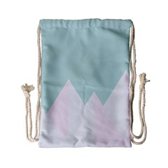 Montain Blue Snow Chevron Wave Pink Drawstring Bag (Small)