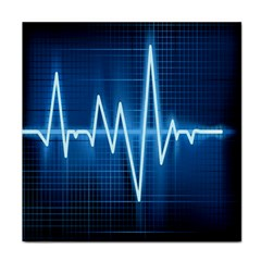 Heart Monitoring Rate Line Waves Wave Chevron Blue Tile Coasters