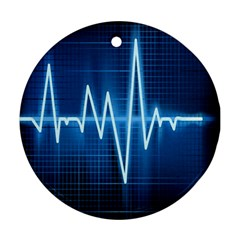 Heart Monitoring Rate Line Waves Wave Chevron Blue Ornament (Round)