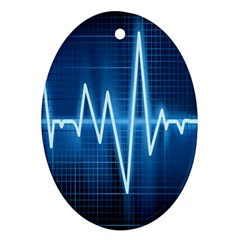 Heart Monitoring Rate Line Waves Wave Chevron Blue Ornament (Oval)