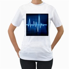 Heart Monitoring Rate Line Waves Wave Chevron Blue Women s T-Shirt (White) (Two Sided)