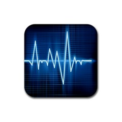Heart Monitoring Rate Line Waves Wave Chevron Blue Rubber Coaster (Square)