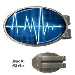 Heart Monitoring Rate Line Waves Wave Chevron Blue Money Clips (Oval)