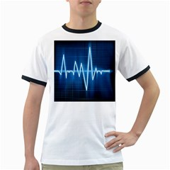 Heart Monitoring Rate Line Waves Wave Chevron Blue Ringer T-Shirts
