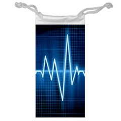 Heart Monitoring Rate Line Waves Wave Chevron Blue Jewelry Bag
