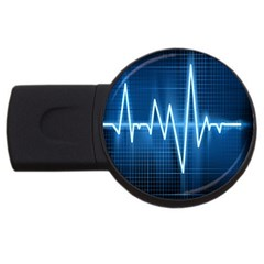 Heart Monitoring Rate Line Waves Wave Chevron Blue USB Flash Drive Round (4 GB)