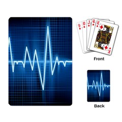Heart Monitoring Rate Line Waves Wave Chevron Blue Playing Card