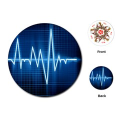 Heart Monitoring Rate Line Waves Wave Chevron Blue Playing Cards (Round)