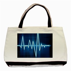 Heart Monitoring Rate Line Waves Wave Chevron Blue Basic Tote Bag